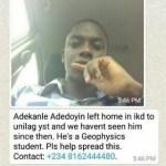 Photos: Missing Unilag Student