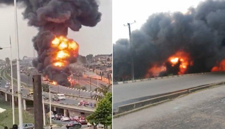 Petrol Tanker Explodes On Otedola Bridge, Lagos