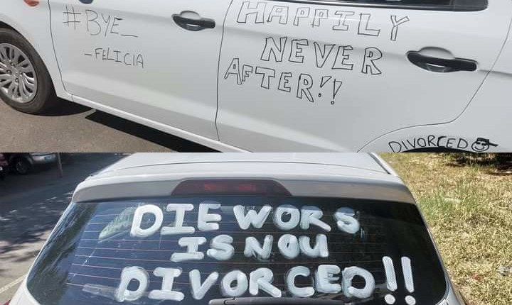 """Marriage Over, Party Started"" - Man Joyfully Announces His Divorce By Defacing Car"