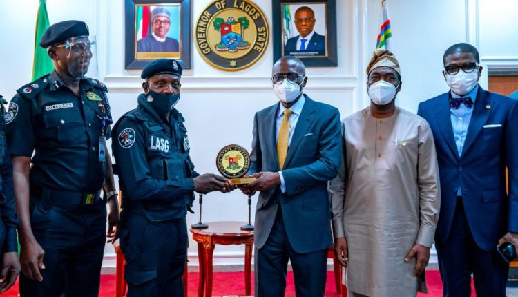 The Police Officer assaulted by a traffic offender, ASP Sunday Erhabor, after the ceremony in his honour at Lagos House, Ikeja, on Monday, April 19, 2021.