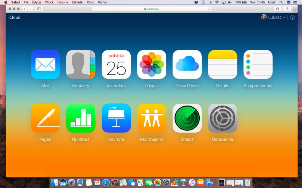 Panel iCloud w przeglądarce Safari