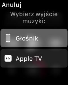 Wybór wyjścia dźwięku z iPhone - Apple TV lub głośnik