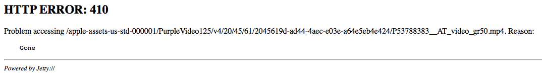Gone… filmu już na serwerze Apple nie ma
