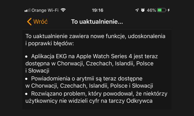 EKG i wykrywanie arytmii za pomocą Apple Watch dostępne w Polsce