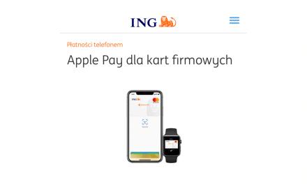 Apple Pay w ING Bank Śląski dla kart firmowych
