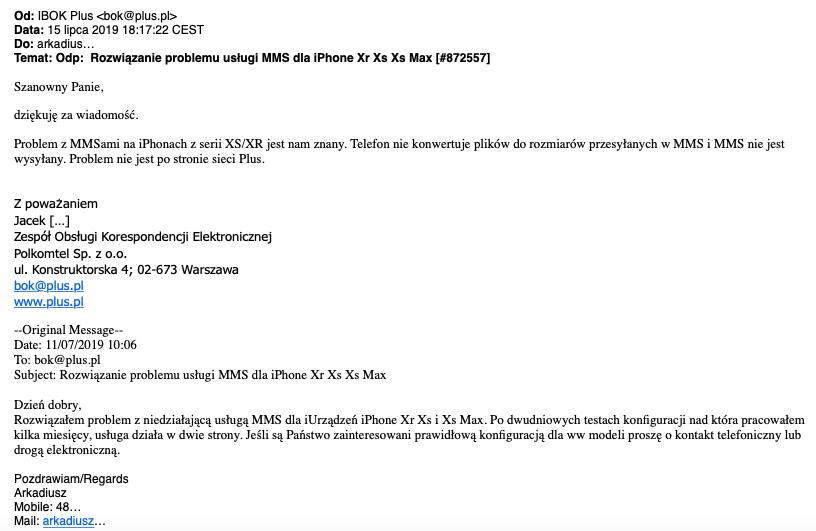 Plus nie jest zainteresowany sposobem na MMS w iPhone