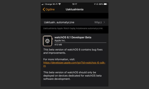 watchOS 6.1 pierwsza deweloperska beta