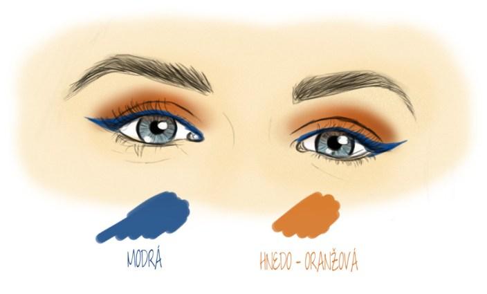 Oranžové očné tiene a modrá očná linka