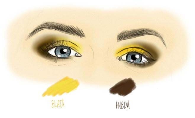 Hnedé a zlaté očné tiene