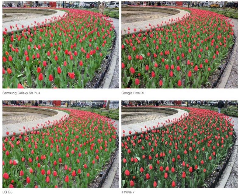 Perbandingan jepretan Pixel dengan beberapa kamera smarthone lain (sumber: theverge.com)