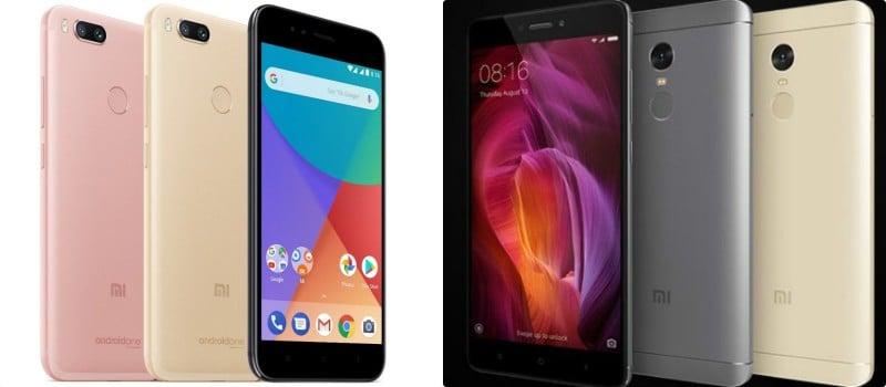 Xiaomi Mi A1 (kiri) vs Redmi Note 4 (kanan)