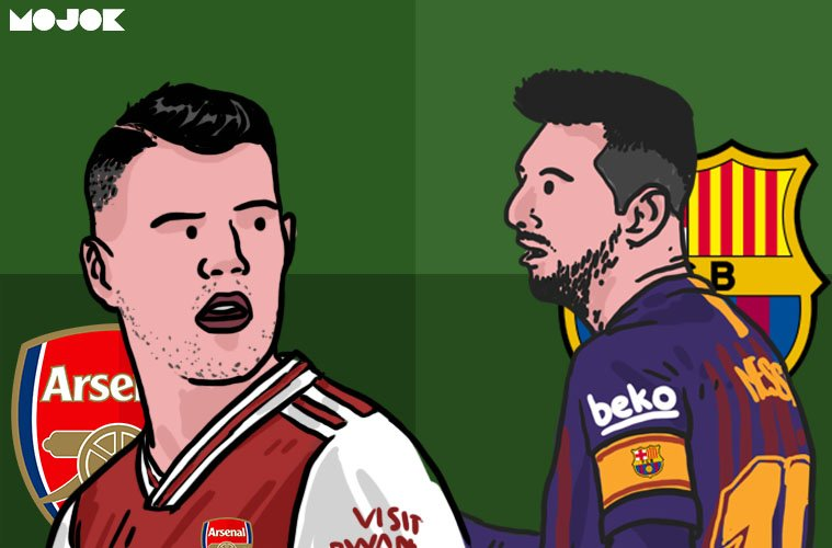 Barcelona dan Arsenal Kesulitan Mengukur Beban Xhaka dan Messi MOJOK.CO
