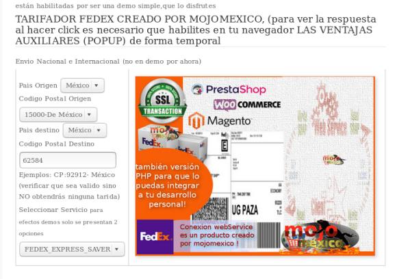 Calculadora Fedex Mexico tarifa real en woocommerce , prestahop, joomla, opencart, php