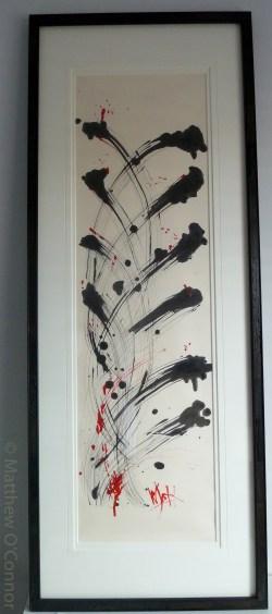 152 cm x 58.5 cm Japanese washi paper Worm wood frame Gouache, india ink, acrylic