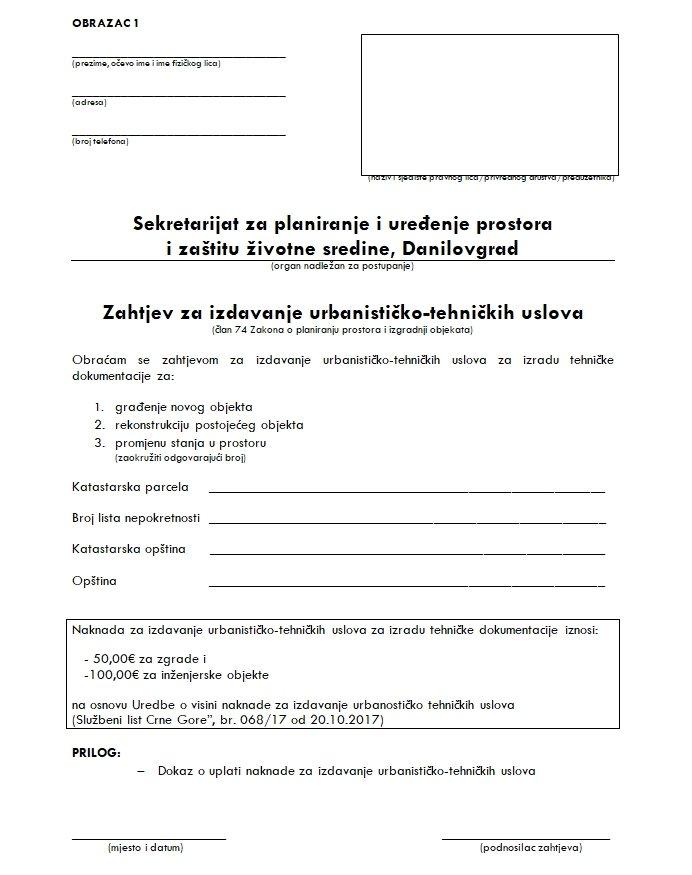 Zahtjev za UT uslove