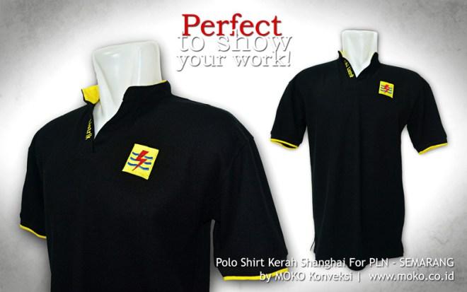 Pesan Kaos Polo Shirt Kerah Shanghai PLN Semarang Jawa Tengah Indonesia Moko Konveksi Semarang