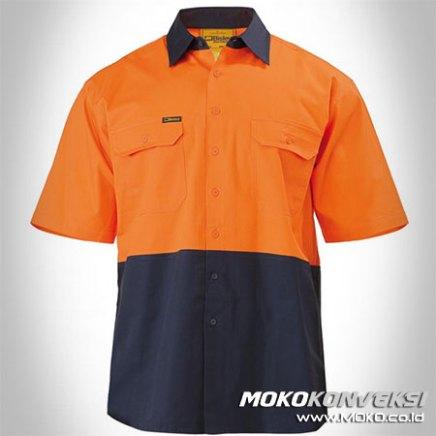 Desain Pakaian Seragam Wearpack Lengan Pendek Terbaru Warna Orange Biru Donker Navy