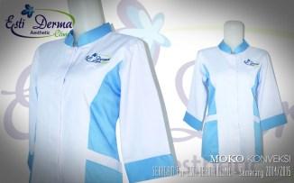 Contoh Gambar Desain Model Baju Perawat Lengan Panjang Clinic Esti Derma Terbaru