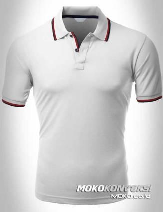 jual kaos kerah polo shirt double stripes warna putih moko konveksi