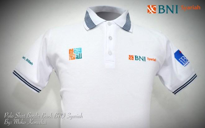 Design Kaos Polo Shirt Bordir Bank BNI Syariah Pahandut, Palangkaraya, Kalimantan Tengah, Indonesia