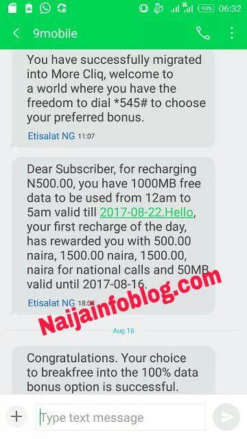9Mobile Cliq4DNite bonus data offer