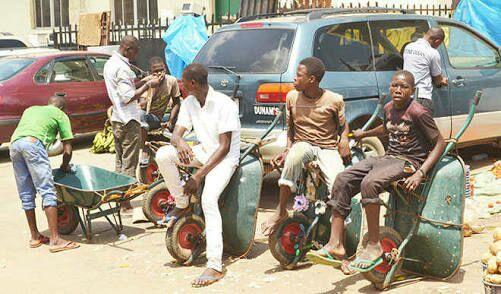 Wheelbarrow pushers youths