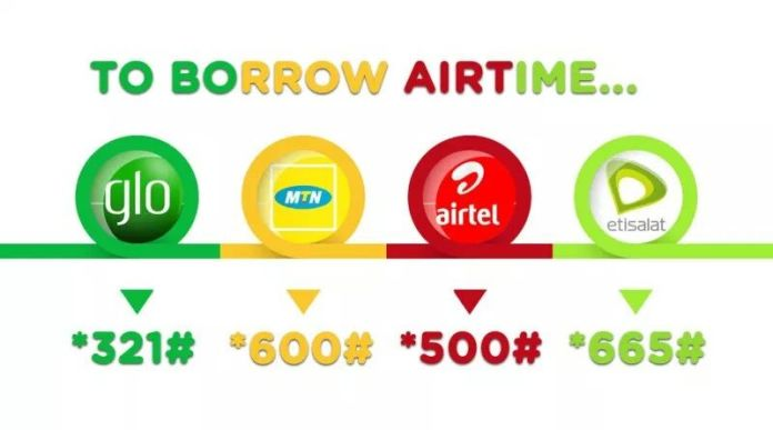 Borrow airtime from mtn, glo, Airtel 9Mobile