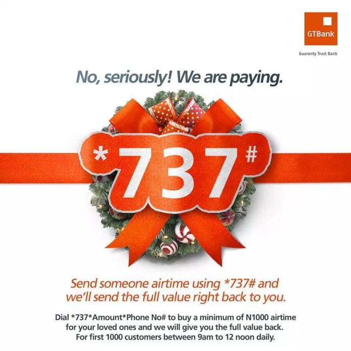 Gtbank 737 free airtime promo