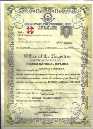 Polytechnic HND certificate