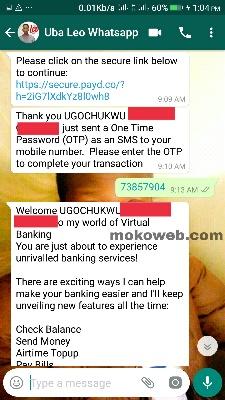 UBA on whatsapp
