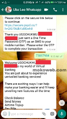 UBA on whatsapp