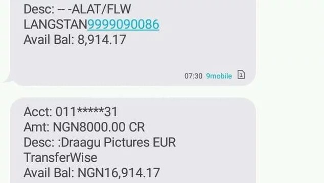 Draagu app money received