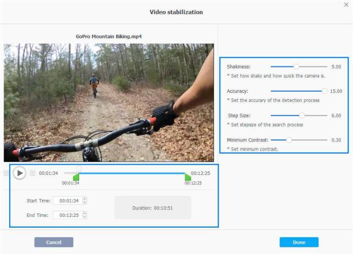 stabilize video settings