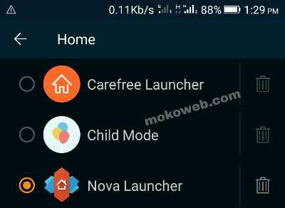 Choose default Android Launcher