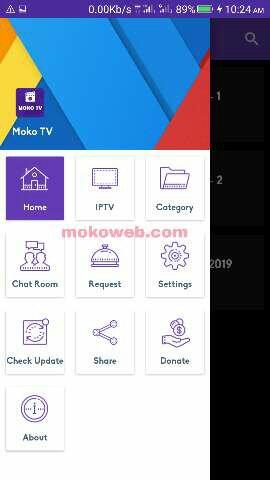 Moko TV menu