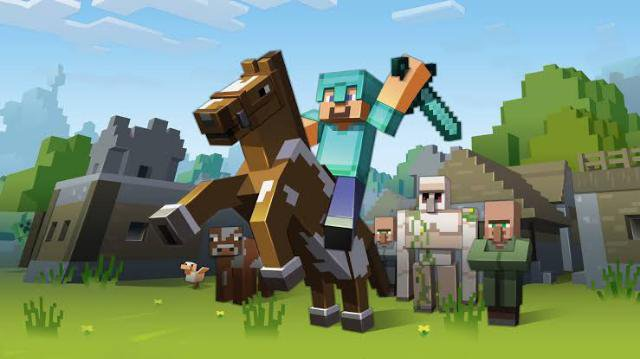 Playing Minecraft game