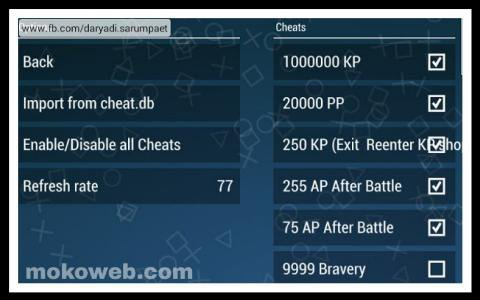 Ppsspp cheat settings