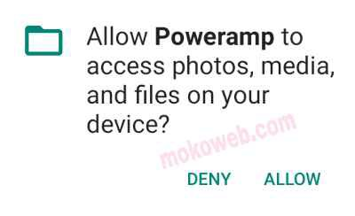 Poweramp app permissions