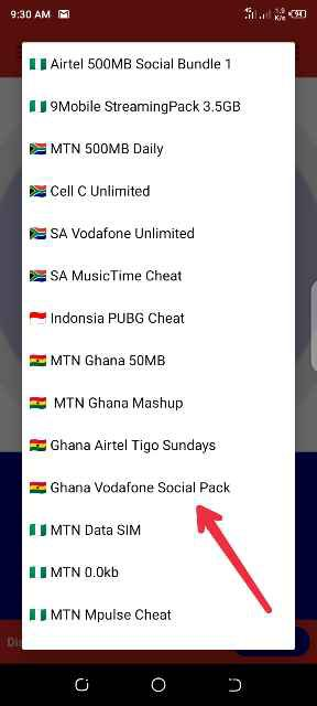 Ghana Vodafone social pack cheat
