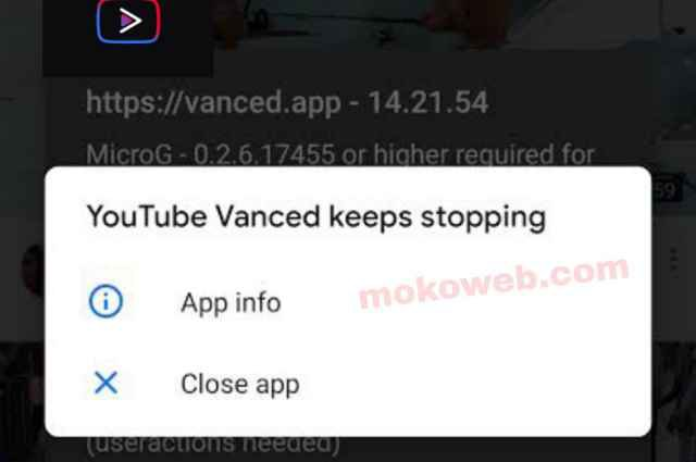 Youtube vanced keep stopping