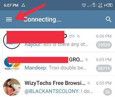Telegram menu button