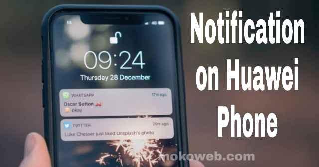 Notification on Huawei smartphone
