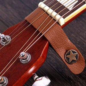 Acoustic guitar strap holder leather brown