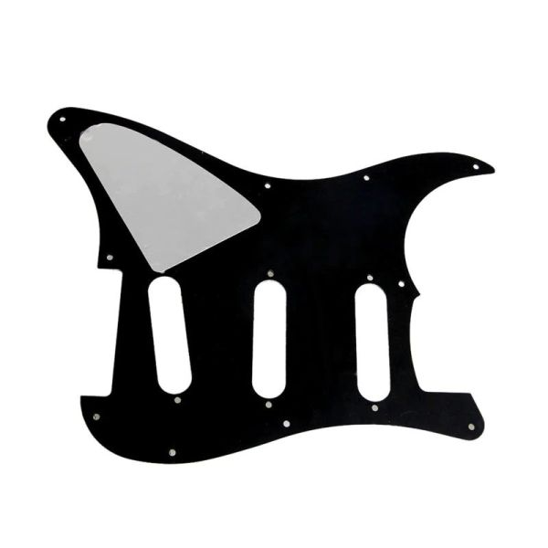 Guitar Stratocaster 3ply pickguard black 11 hole