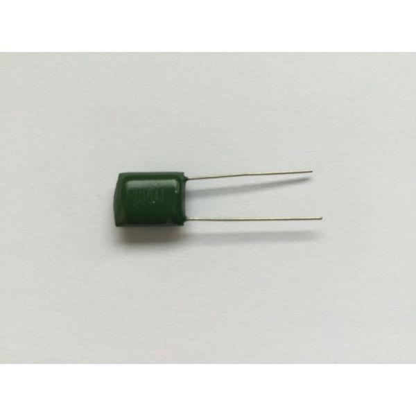 Green 0.1 uF capacitor 100v model 2A104J