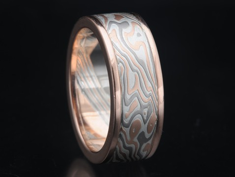red gold mokume wedding ring