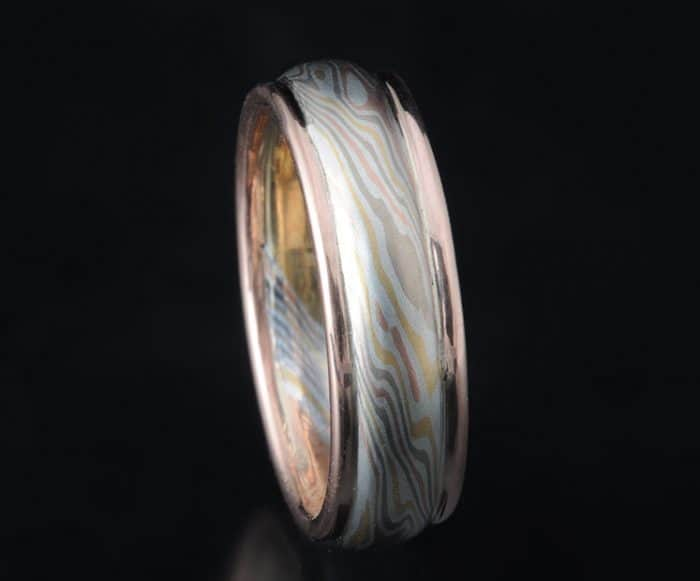 non-etched multi-gold mokume wedding ring