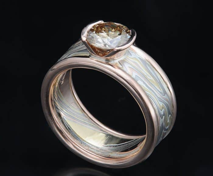 unique red gold diamond ring