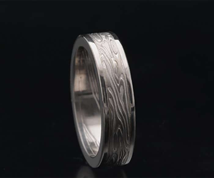flat mokume white gold ring