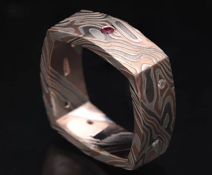 squardiamond ruby wedding ring
